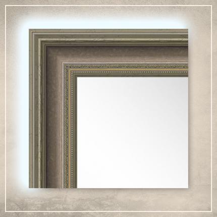 LED taustavalgusega peegel Lucas hõbedase/pronksi raamiga