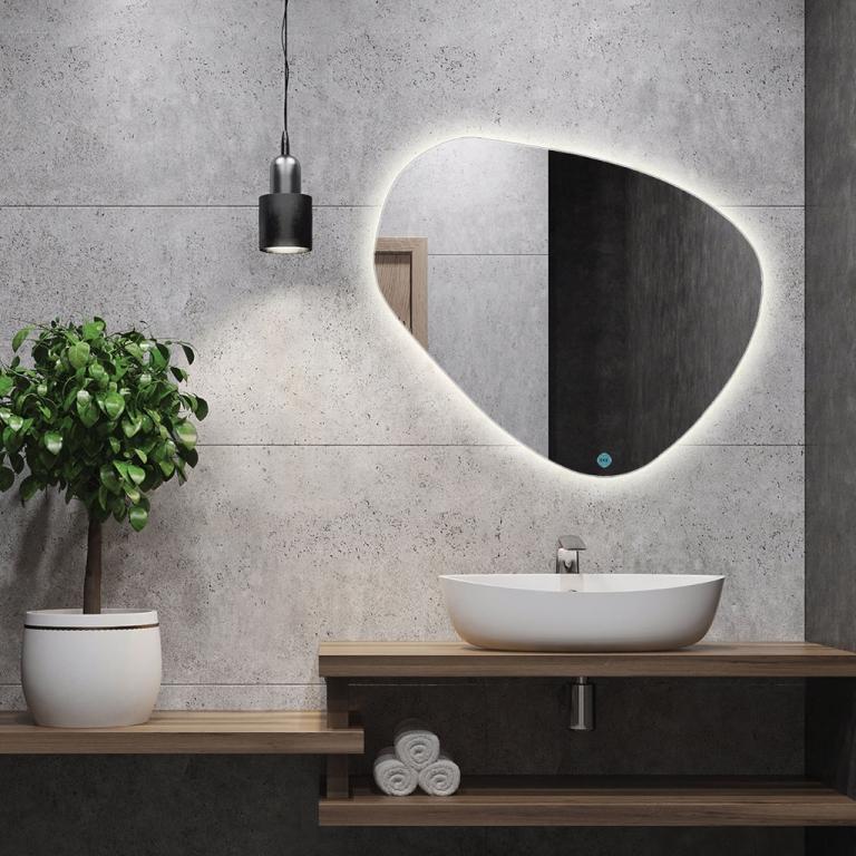 LED valgusega erikujuga peegel Stone VÄIKE (87x67cm)