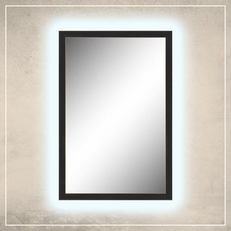 LED taustavalgusega peegel Aria musta raamiga