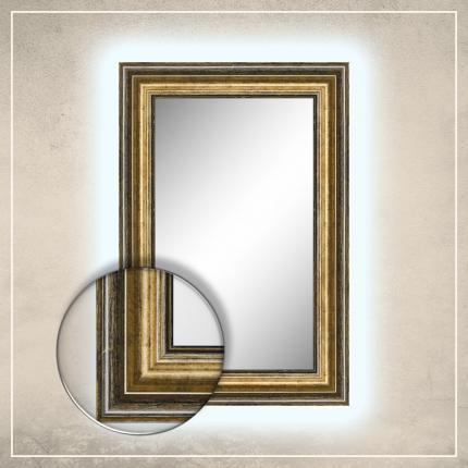 LED taustavalgusega peegel Tom musta/kuldse raamiga