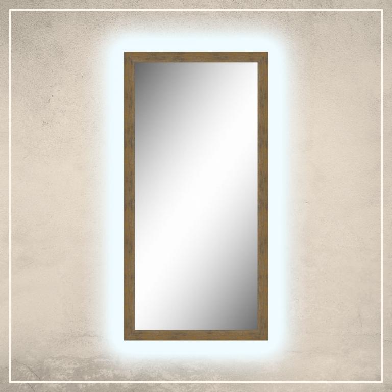 LED taustavalgusega peegel Walker naturaalset tooni raamiga