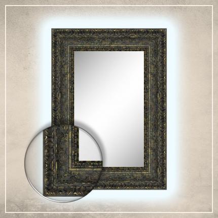 LED taustavalgusega peegel Julius kuldse/musta raamiga