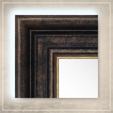 LED taustavalgusega peegel Hanna musta/kuldse raamiga