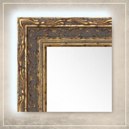LED taustavalgusega peegel Athena tumekuldse raamiga