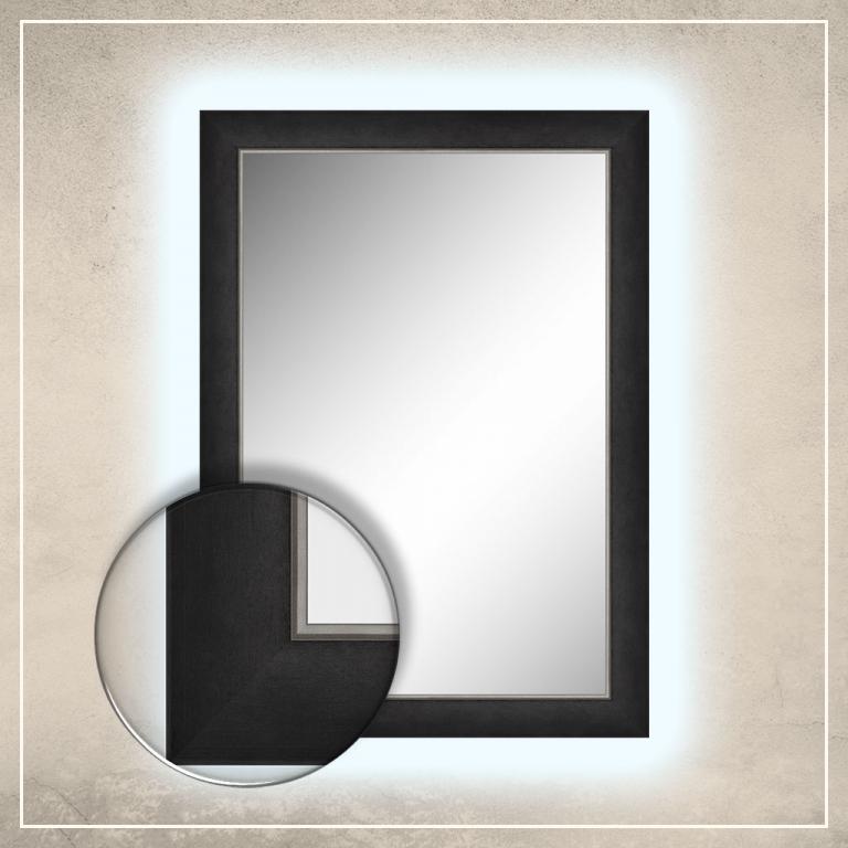 LED taustavalgusega peegel Liam musta raamiga