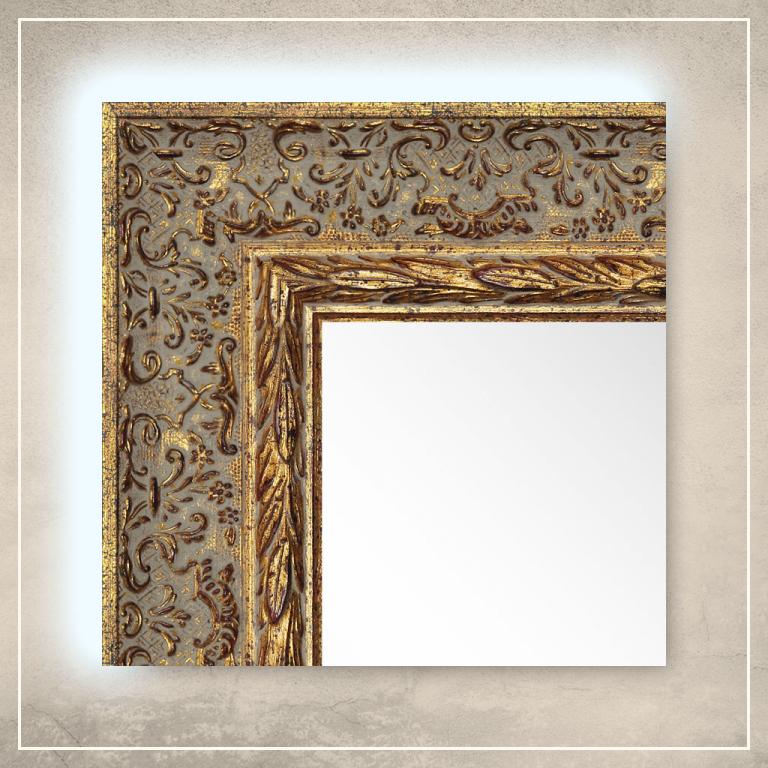 LED taustavalgusega peegel Alita kuldse raamiga