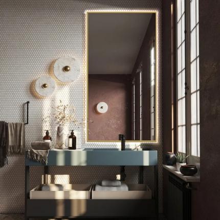 LED valgustusega alumiiniumraamiga peegel Alu (kuldne)