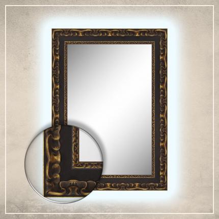 LED taustavalgusega peegel Paris musta/kuldse raamiga