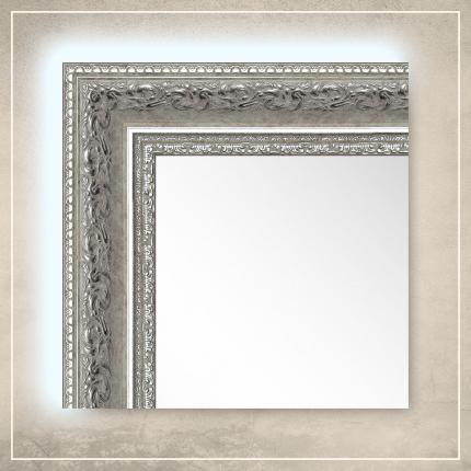 LED taustavalgusega peegel Amara valge/hõbedase raamiga