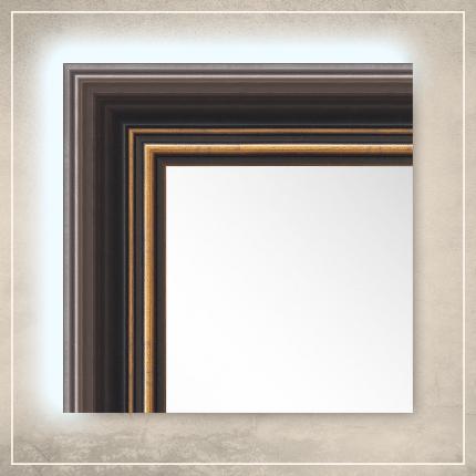 LED taustavalgusega peegel Eric tumepruuni/kuldse raamiga