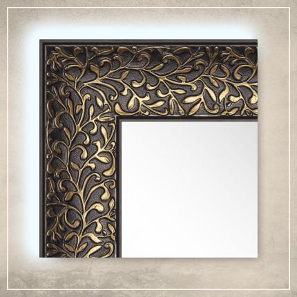 LED taustavalgusega peegel Jenny musta/kuldse raamiga