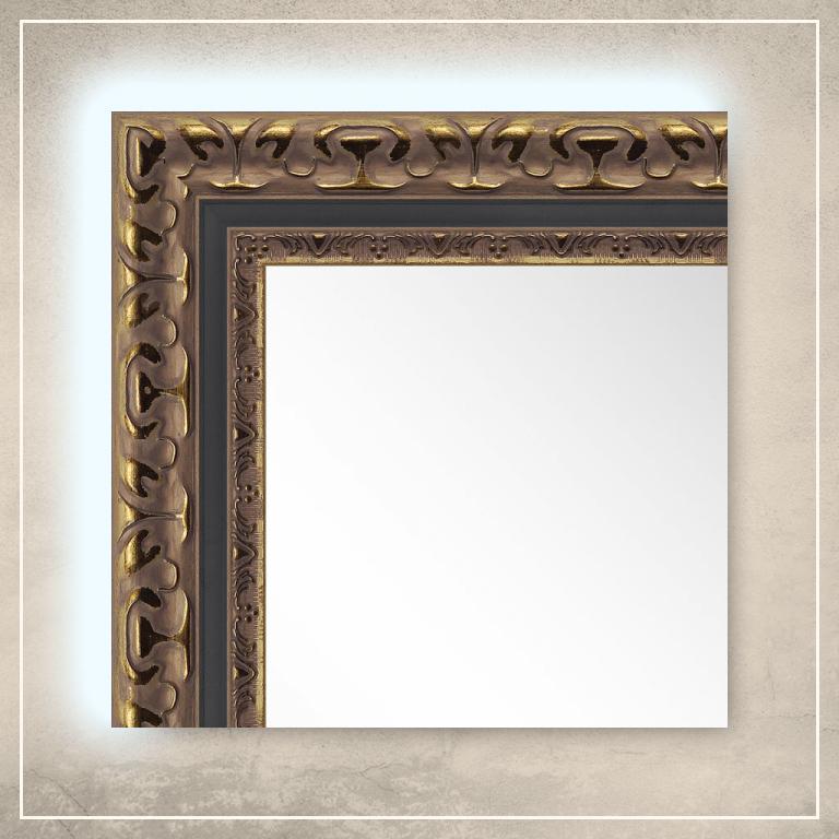 LED taustavalgusega peegel Levi kuldse/musta raamiga