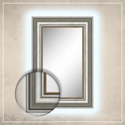LED taustavalgusega peegel Hanna hõbedase raamiga