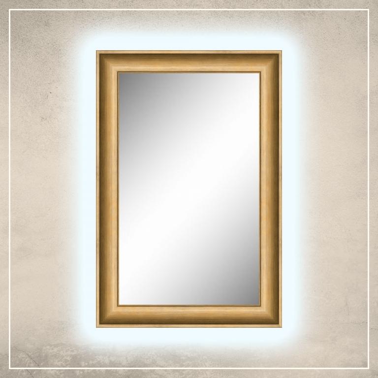 LED taustavalgusega peegel Lonell kuldse raamiga