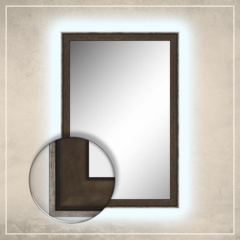 LED taustavalgusega peegel Fredi tumepruuni raamiga