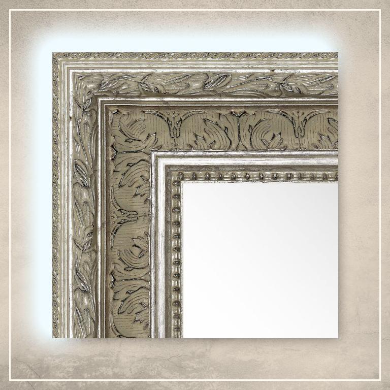 LED taustavalgusega peegel Robin hõbedase raamiga