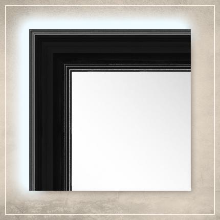 LED taustavalgusega peegel Leo musta raamiga