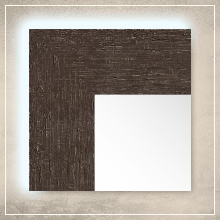 LED taustavalgusega peegel Elena tumepruuni raamiga