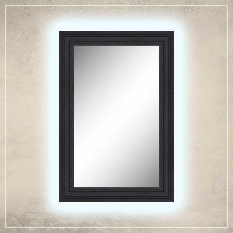 LED taustavalgusega peegel Remi musta raamiga