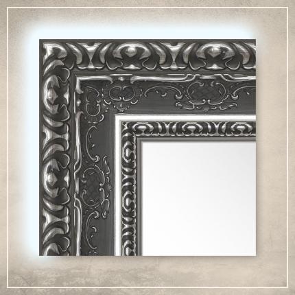 LED taustavalgusega peegel Julius hõbe/halli raamiga