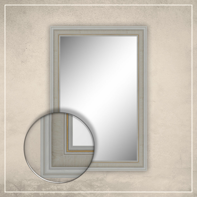 Peegel Lucas valge raamiga