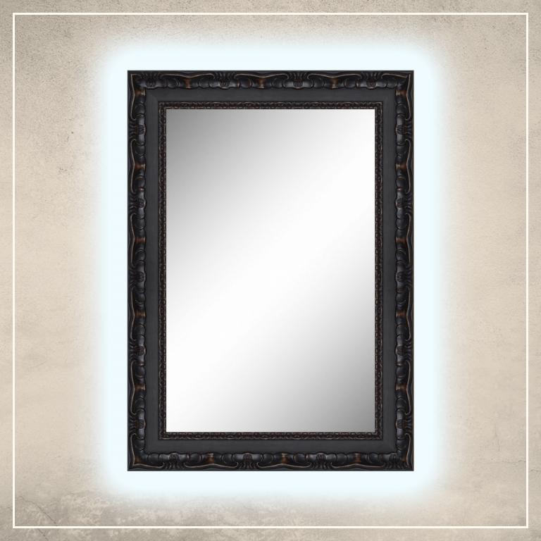 LED taustavalgusega peegel Paris musta raamiga