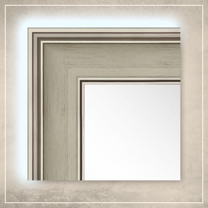LED taustavalgusega peegel Max valge/hõbedase raamiga