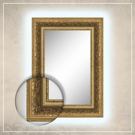 LED taustavalgusega peegel Tess kuldse raamiga