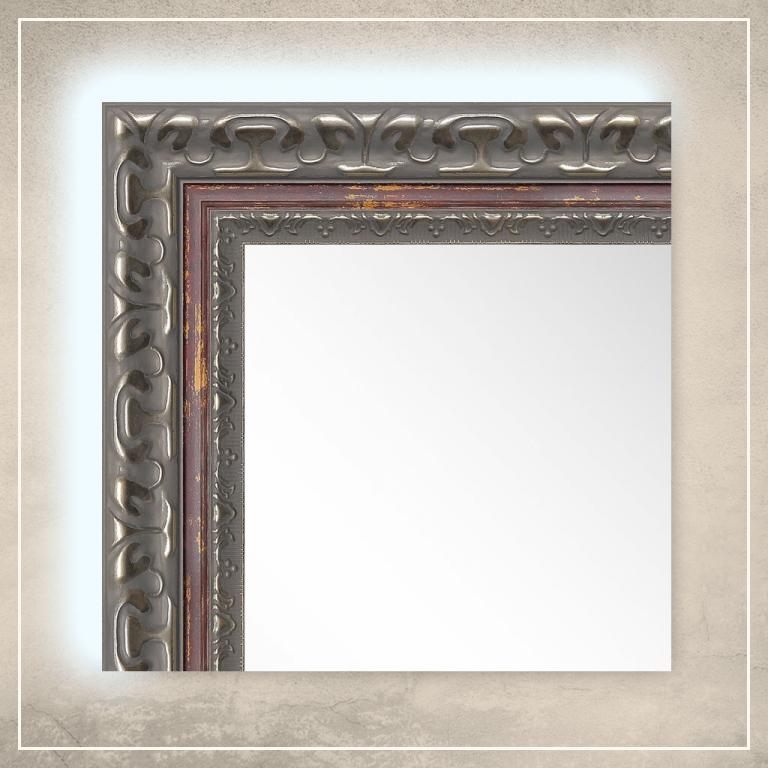 LED taustavalgusega peegel Levi hõbedase/punase raamiga