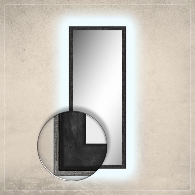 LED taustavalgusega peegel Fredi musta raamiga