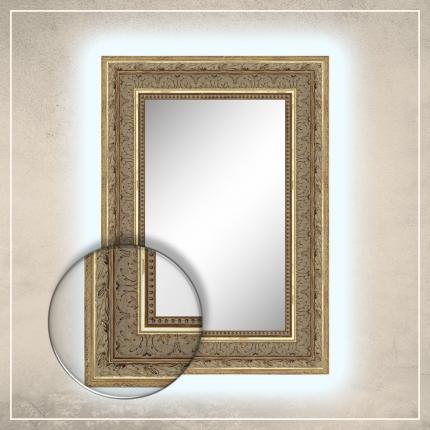 LED taustavalgusega peegel Robin kuldse raamiga