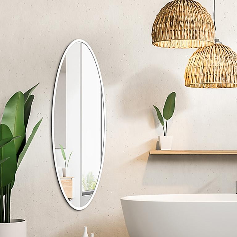 Ovaalne peegel Maloma valge raamiga (50x120cm)