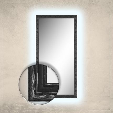 LED taustavalgusega peegel Oskar musta raamiga
