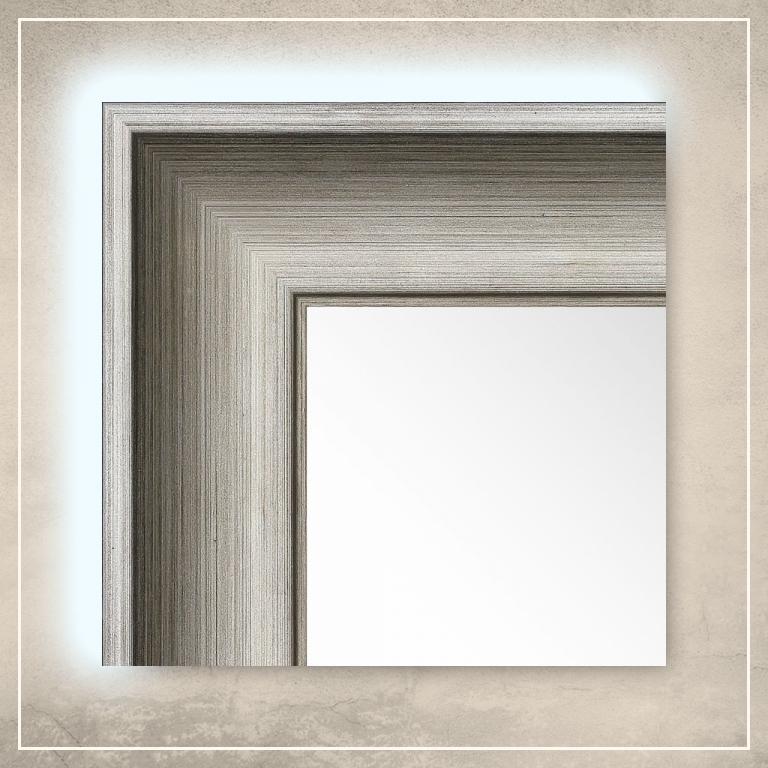 LED taustavalgusega peegel Lonell hõbedase raamiga