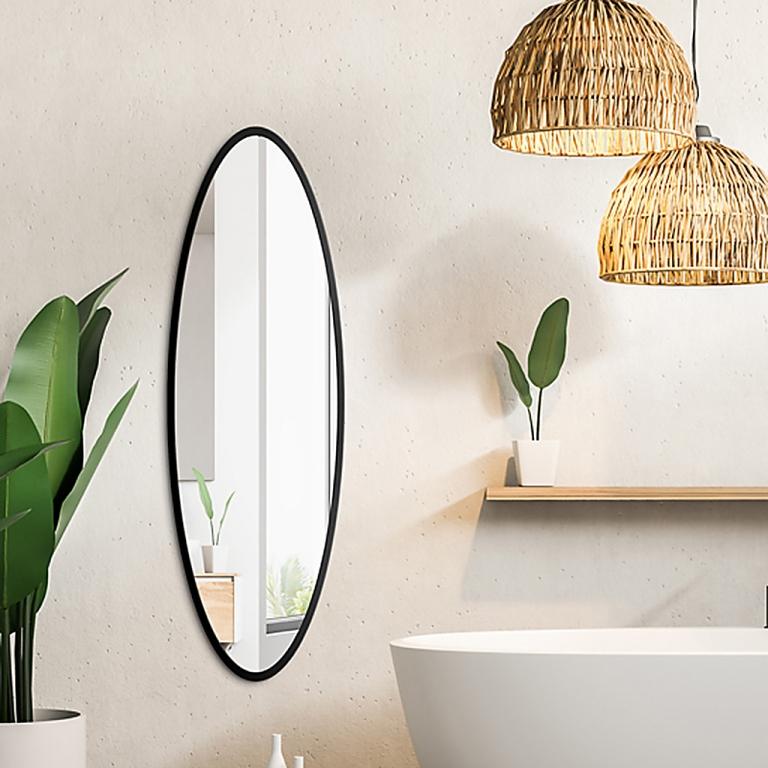 Ovaalne peegel Maloma musta raamiga (50x120cm)