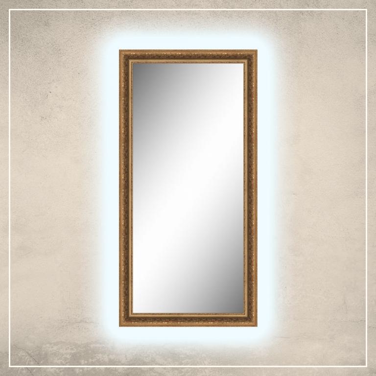 LED taustavalgusega peegel Tess tumekuldse raamiga