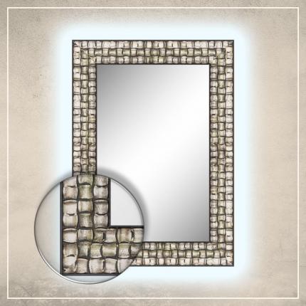 LED taustavalgusega peegel Leevi hõbedase/musta raamiga