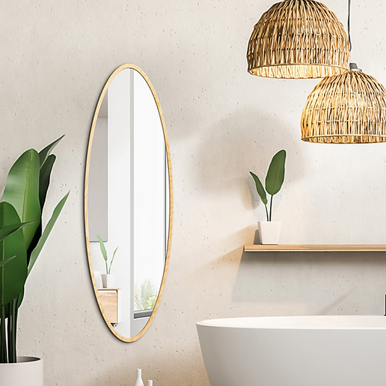 Ovaalne peegel Maloma vineerist raamiga (50x120cm)