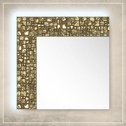 LED taustavalgusega peegel Olivia kuldse raamiga