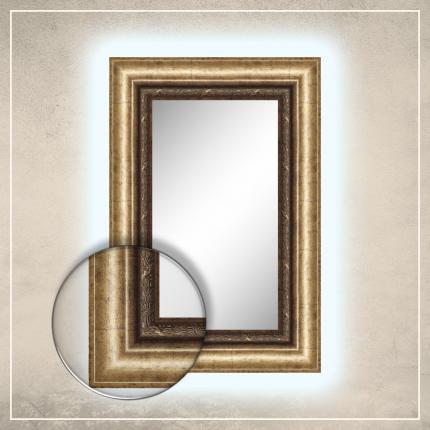 LED taustavalgusega peegel Alexa kuldse raamiga