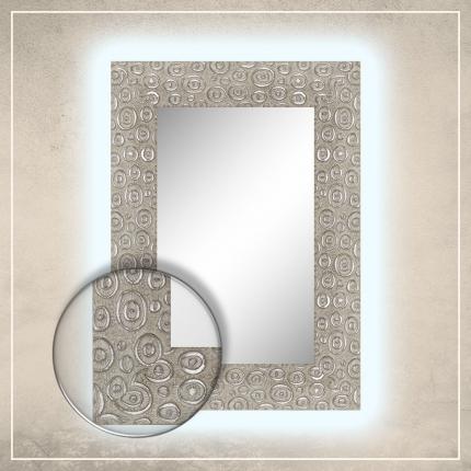 LED taustavalgusega peegel Laila valge/hõbedase raamiga