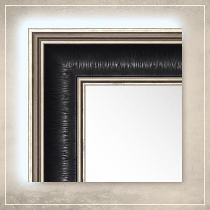 LED taustavalgusega peegel Max musta/hõbedase raamiga