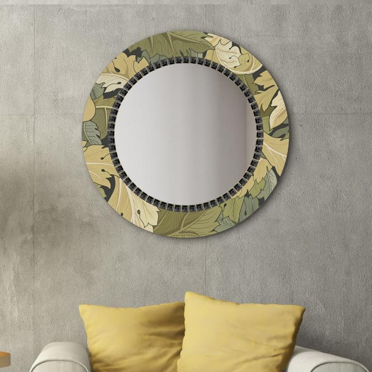 Ümmargune peegel Flower klaasist raamiga (70x70cm)