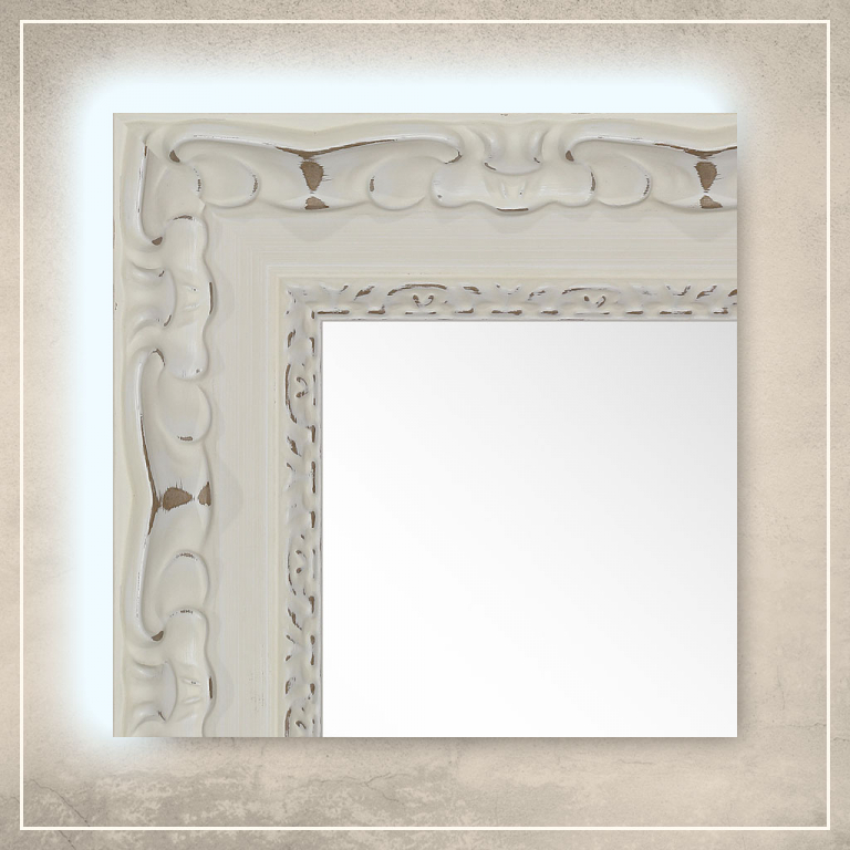LED taustavalgusega peegel Paris valge raamiga