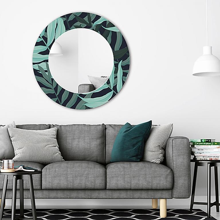 Ümmargune peegel Palm klaasist raamiga (70x70cm)