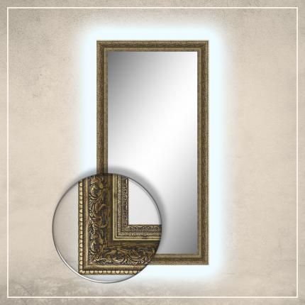 LED taustavalgusega peegel Louis kuldse raamiga