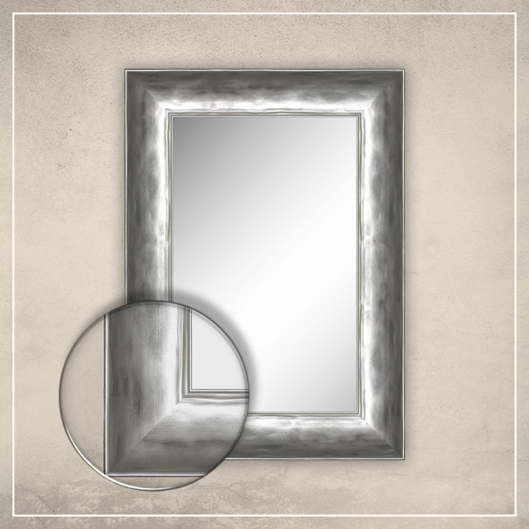 Peegel Canva hõbedase raamiga