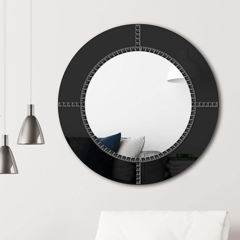 Ümmargune peegel Fenis klaasist raamiga (70x70cm)