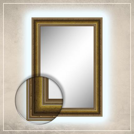 LED taustavalgusega peegel Lucas kuldse raamiga