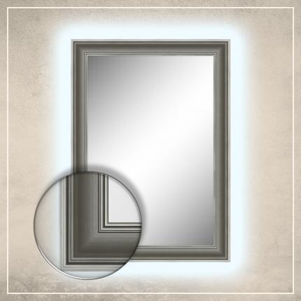 LED taustavalgusega peegel Leo hõbedase raamiga